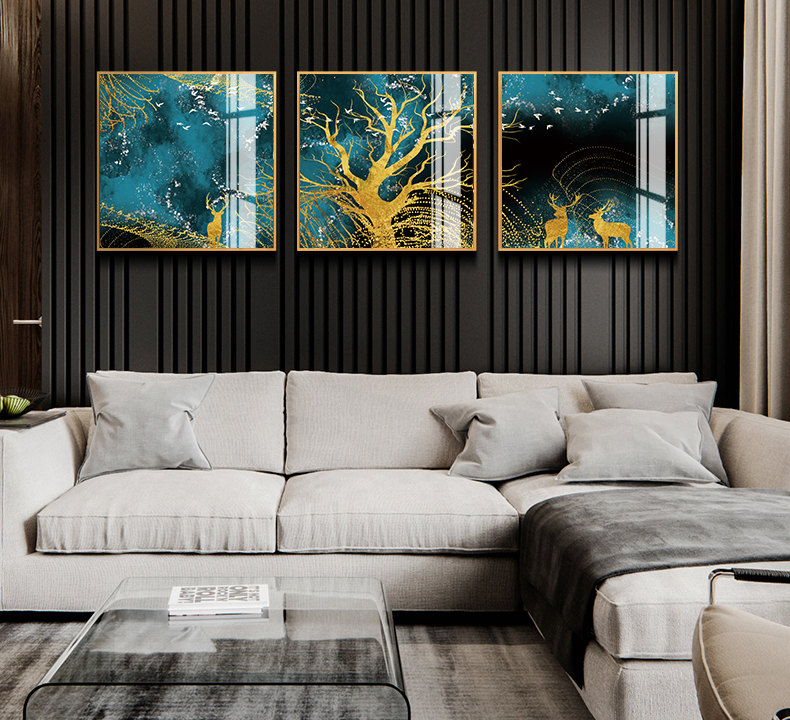 Tranh phong thuỷ Mica 3 bức Những chú hươu vàng dưới tán cây hoàng kim trừu tượng (Đại lâm mộc). Model: AZ3-0119. Khung nhôm hoặc Composite. Hình ảnh sắc nét, sang trọng, phù hợp nhiều không trang trí