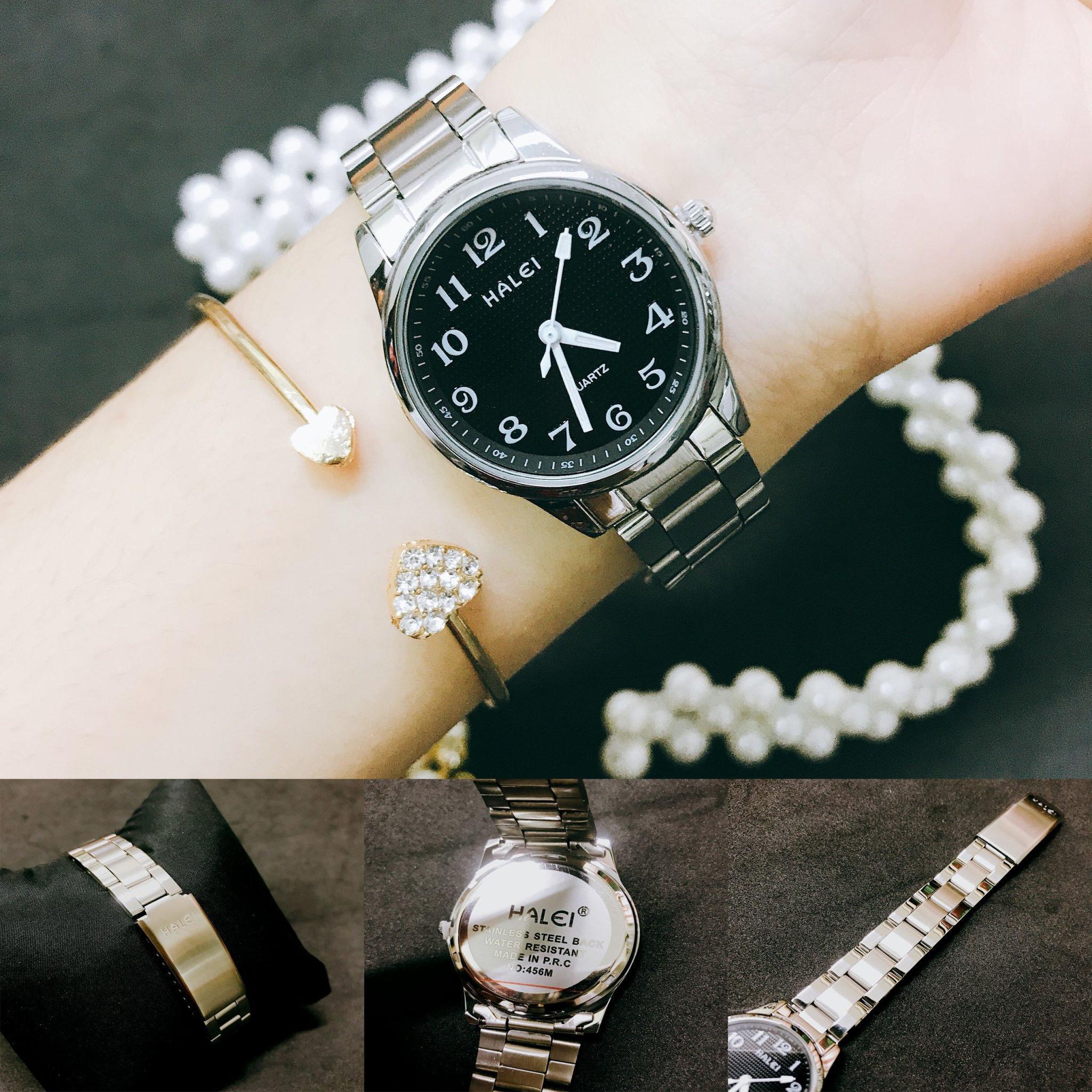 Đồng hồ nữ HALEI 456 dây thép không gỉ thời thượng ( HL465 Dây Trắng  ) - Tặng Combo TẨY DA CHẾT APPLE WHITE PELLING GEL BEAUSKIN chính hãng