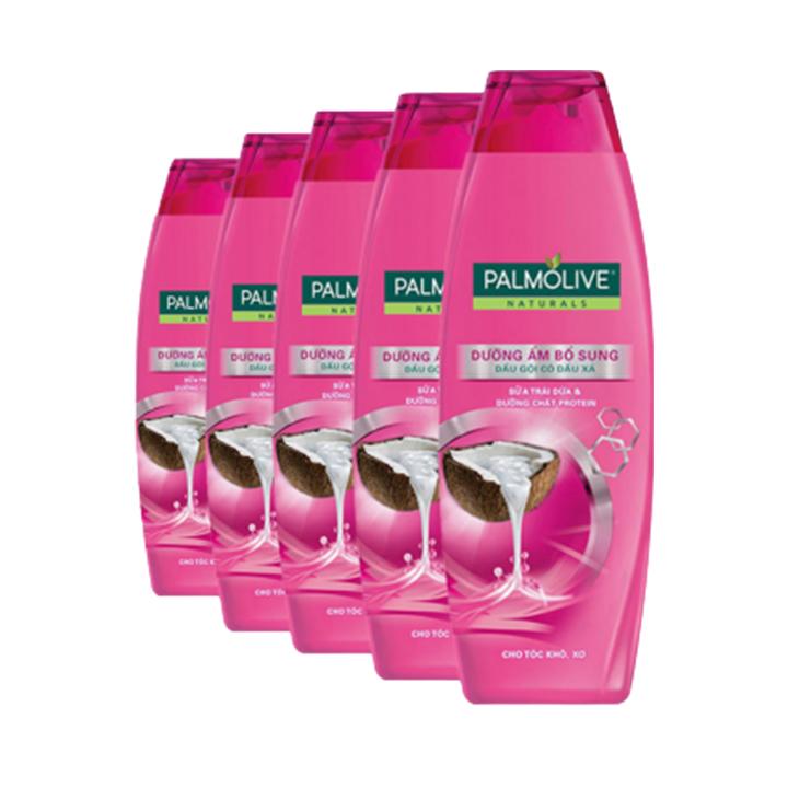 Bộ 5 chai dầu gội kèm dầu xả Palmolive Dưỡng Ẩm bổ sung từ sữa dừa & protein 180ml/chai