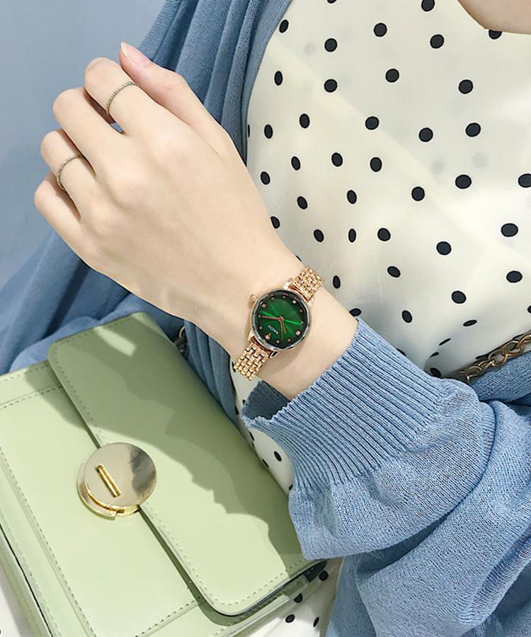 Đồng Hồ Nữ mặt xanh trơn thanh lịch