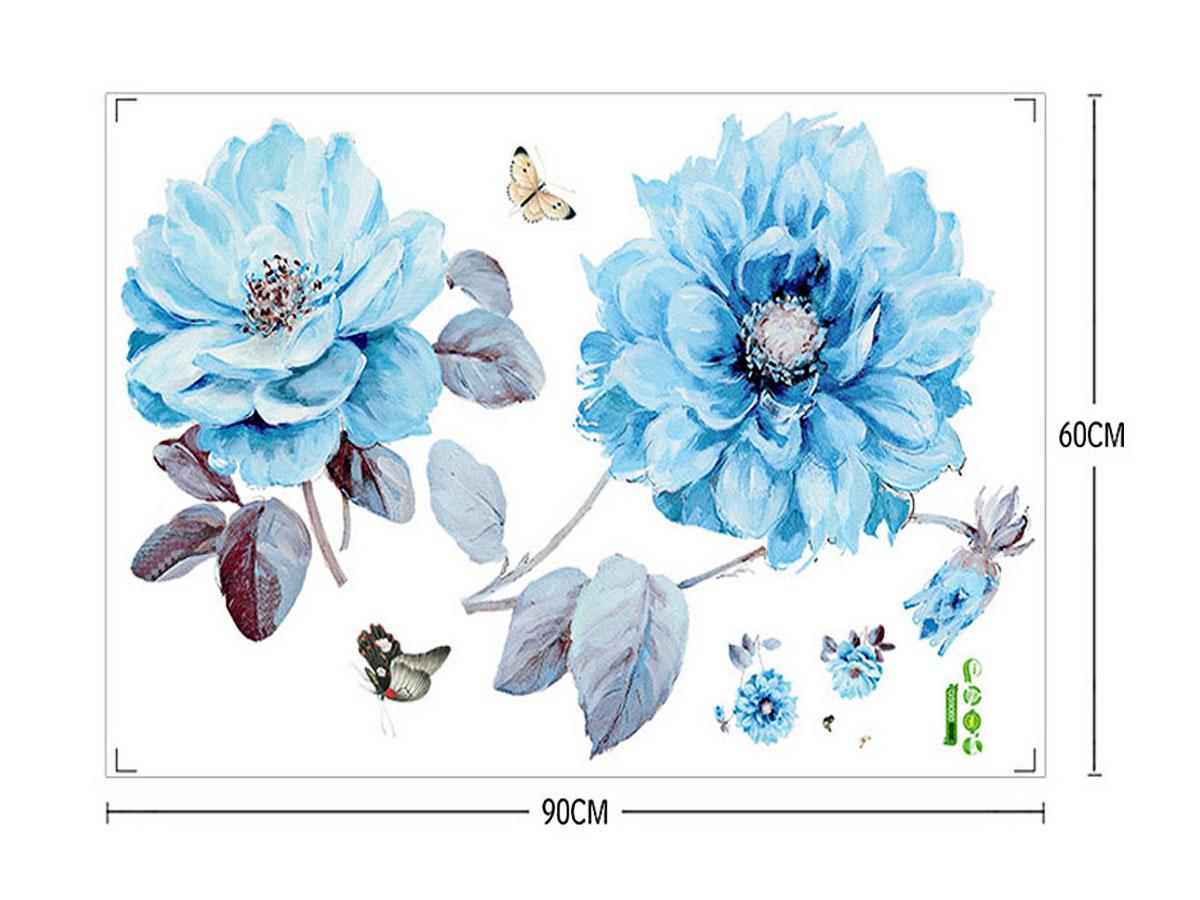 decal dán tường hoa thược duợc xanh gs9060