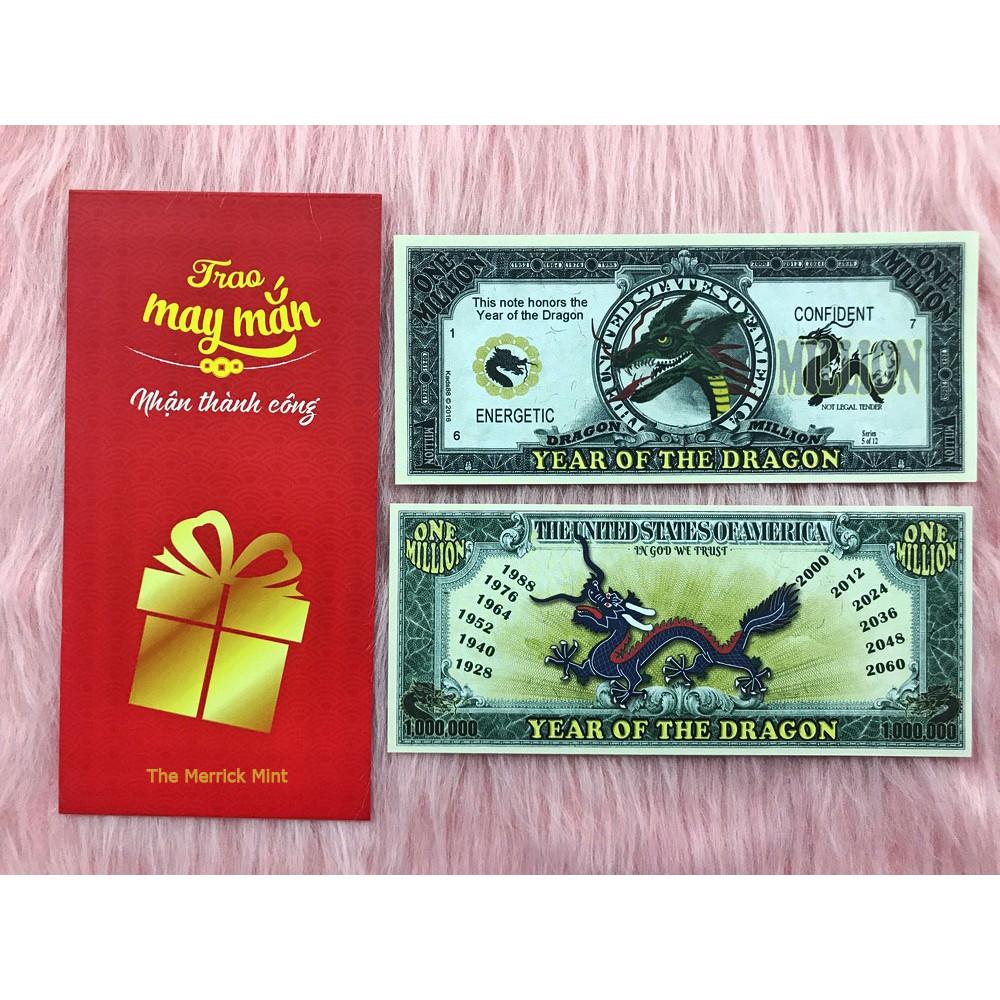 Tờ 1 triệu đô lưu niệm in hình con rồng , quà tặng phong thủy, dùng để sưu tầm , quà tặng lì xì cho người tuổi Thìn - tặng kèm bao lì xì đỏ - The Merrick Mint