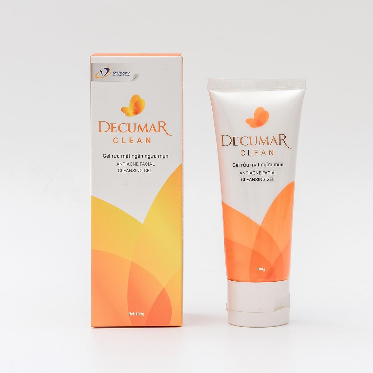 Bộ Chăm Sóc Da Mụn 2 Sản Phẩm: Gel Rửa Mặt Ngừa Mụn Decumar Clean và Gel Nghệ Ngừa Mụn Trong Suốt Từ Nano Tetrahydrocurcumin (Nano THC)