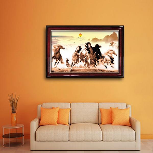 Tranh Con Ngựa - Tranh Bát Mã Quần Phong W649