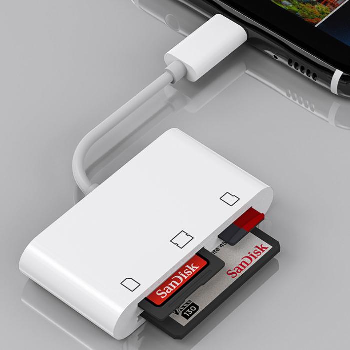 Đầu đọc thẻ OTG Lightning 3 in 1 cho điện thoại IP đọc thẻ TF , SD , CF