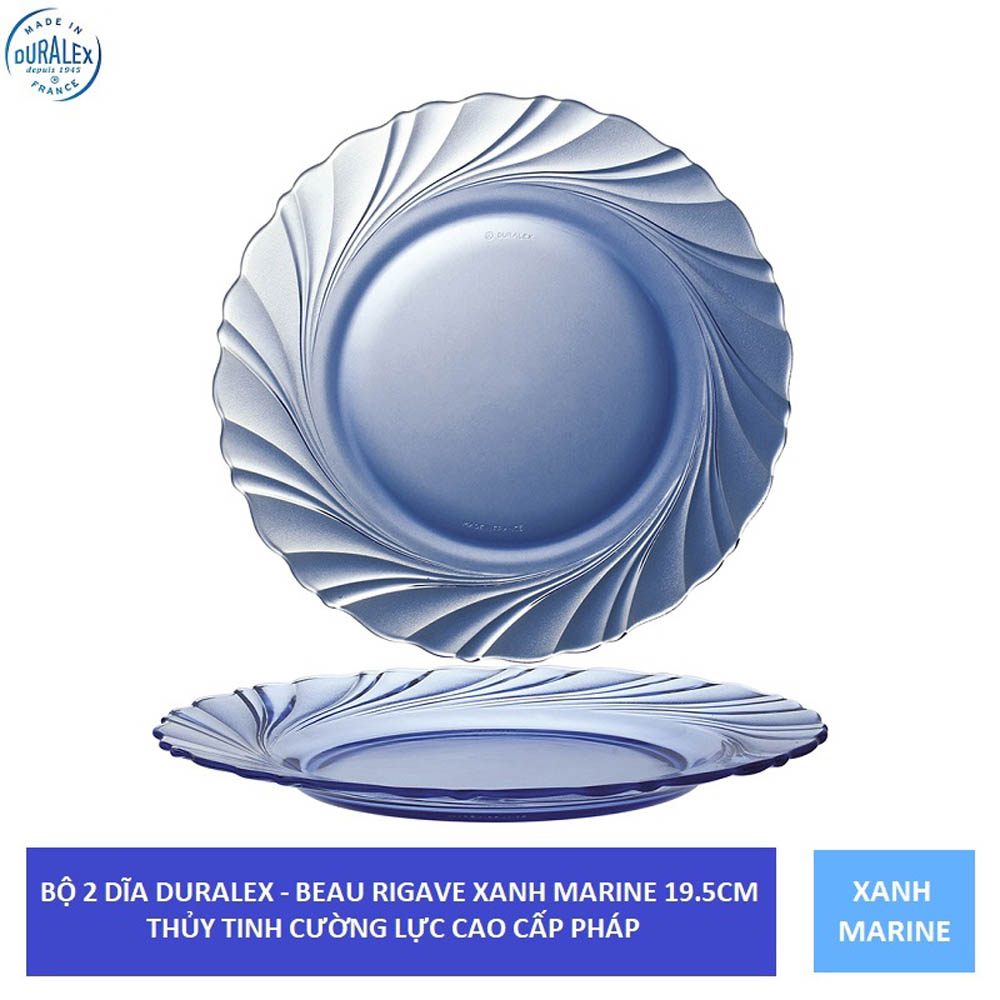 Bộ 2 dĩa cạn thủy tinh cường lực Pháp Duralex Beau Rivage 19,5 cm ( Xanh Marine/ Nâu khói Creole)