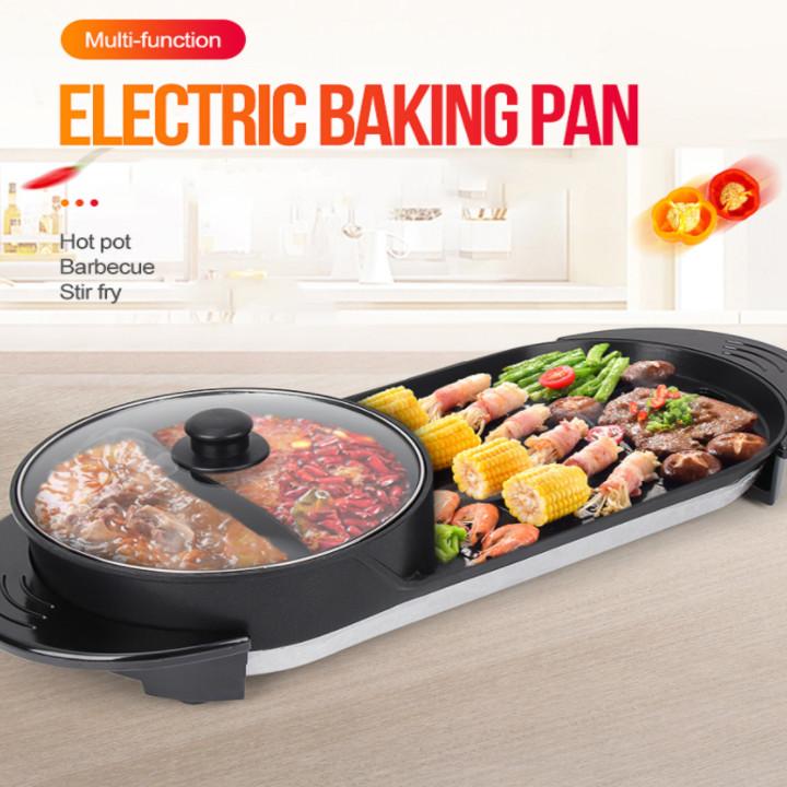 Bếp nướng lẩu đa năng 2 trong 1 chống dính cao cấp - Công suất: 1100-2200W -  Kích thước : 67x28x26cm - Mã: JNS-DKL2