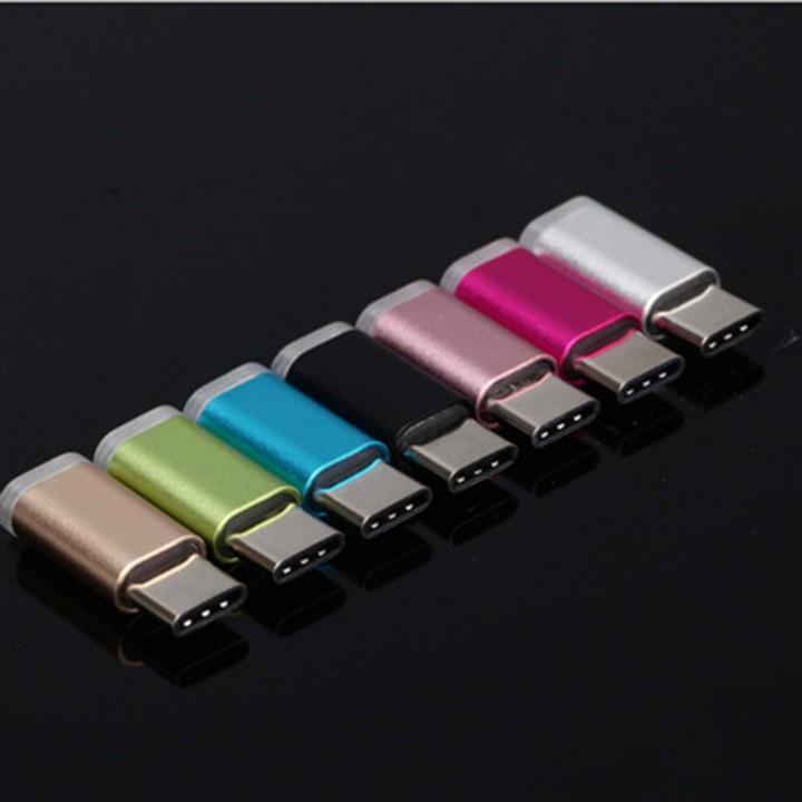 Đầu chuyển đổi Micro sang USB Type C cho chân dài và chân ngắn - Nhiều màu