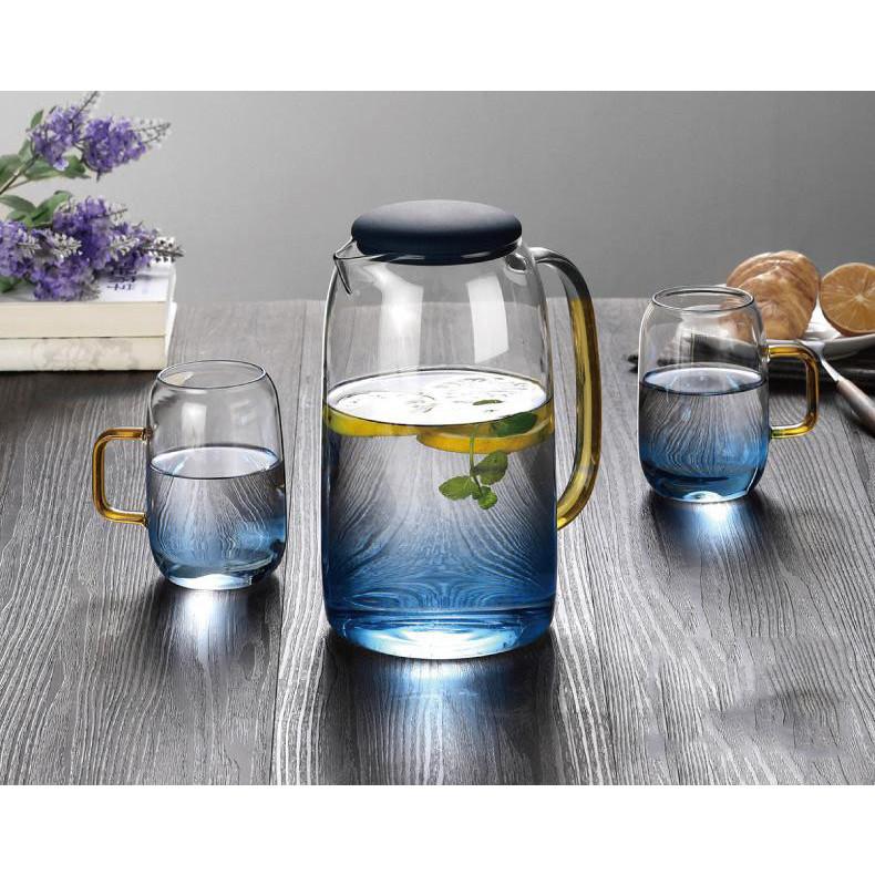 Bình thủy tinh xanh ngọc 1,5L và 2 ly uống nước 280ML