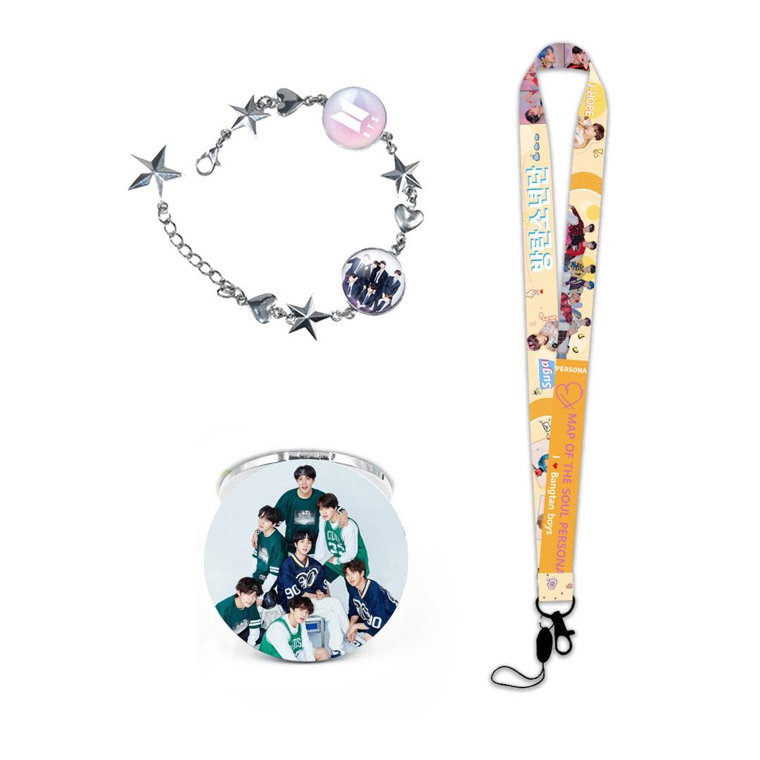 Bộ 3 món dây đeo thẻ BTS persona vòng tay BTS kèm gương BTS