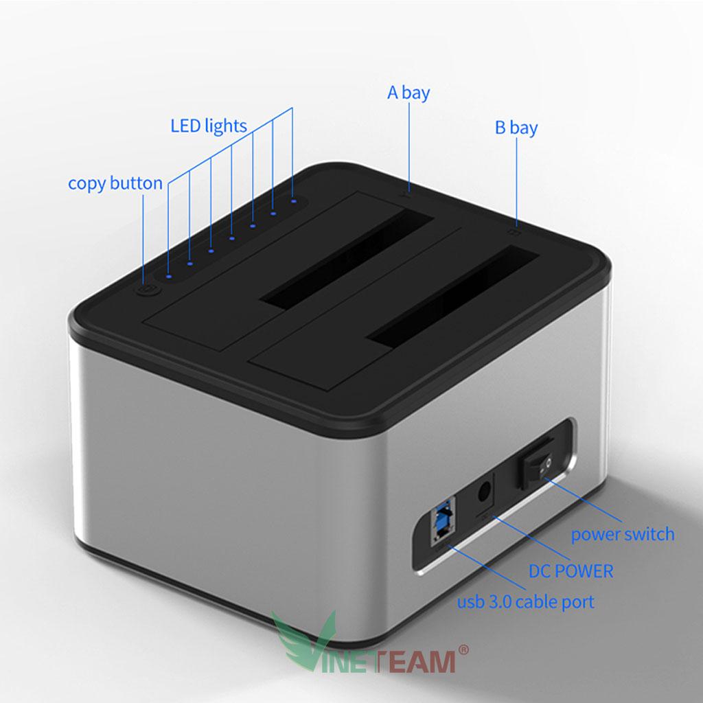 """Dock cắm ổ cứng Blueendless HD07A USB3.0  Đế ổ cứng loại 2 khe cắm: 3.5"""" và 2.5 - Hàng nhập khẩu"""