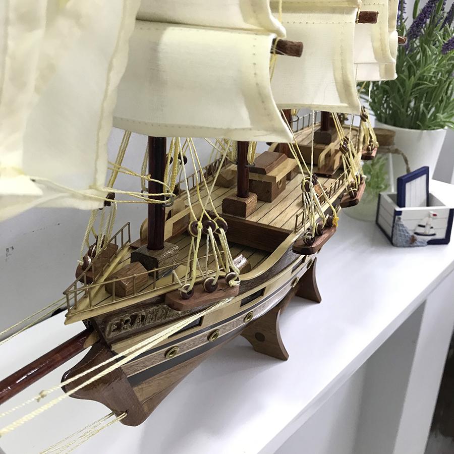 Mô hình thuyền gỗ trang trí France II - thân 40cm - loại 2