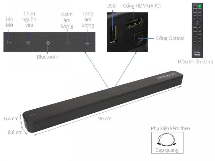 Thông số kỹ thuật Loa thanh soundbar Sony 2.0 HT-S100F 120W