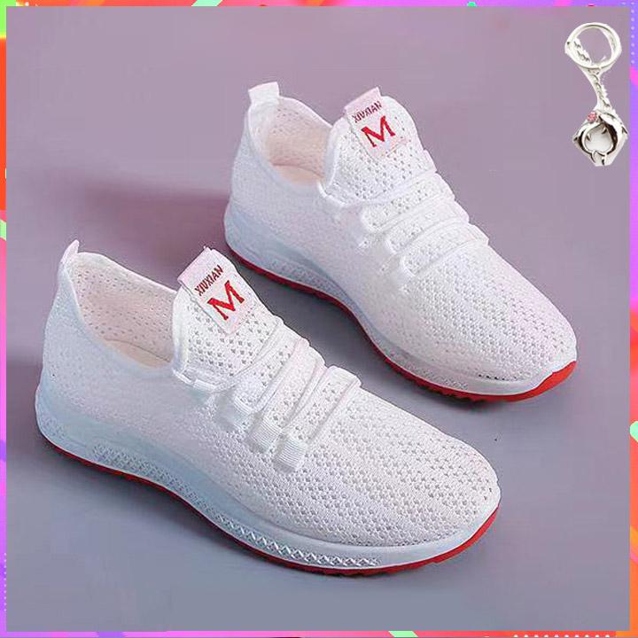 Giày nữ Sneake thể thao thoáng khí viền đế Đỏ VDD01 và móc khóa cá heo