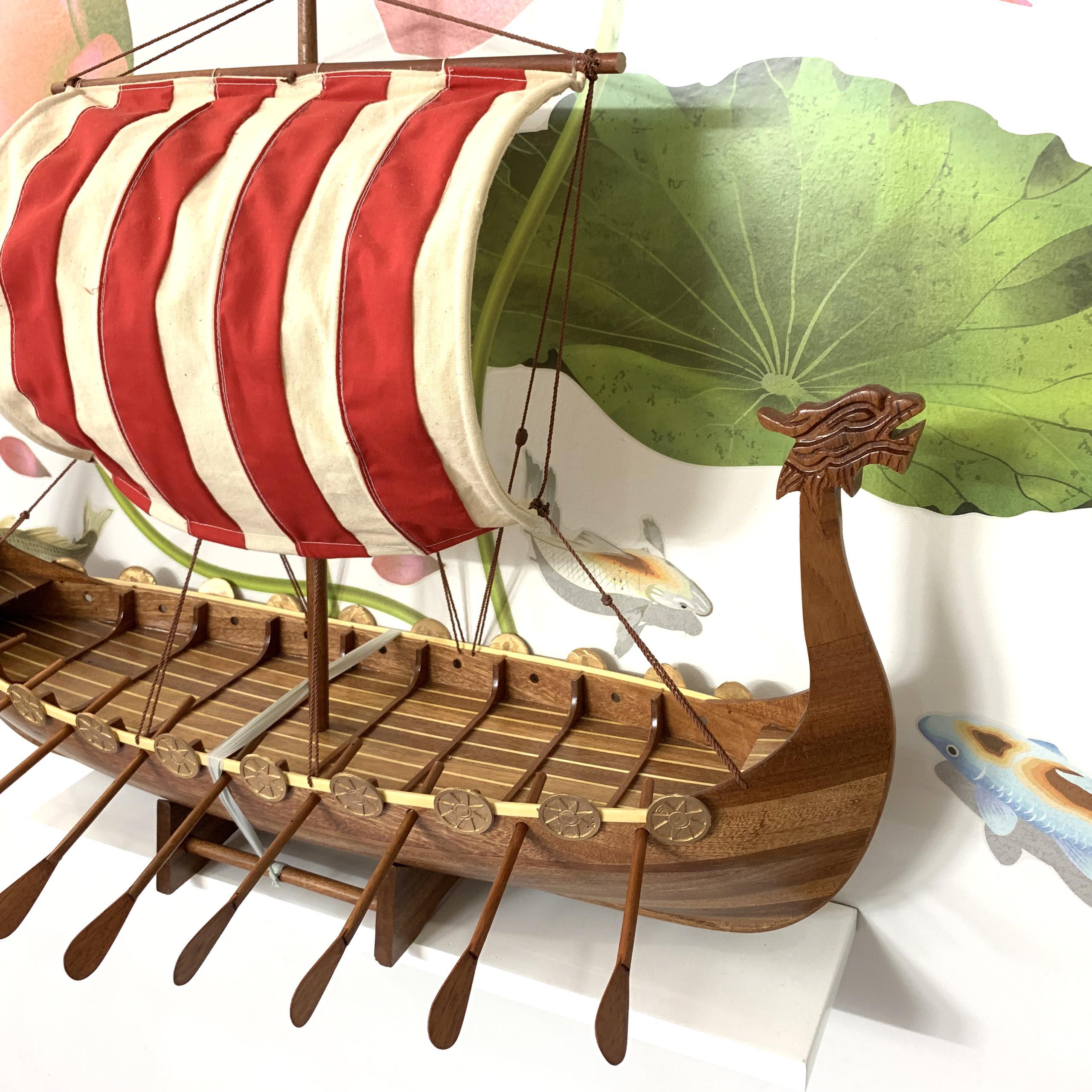 Mô hình tàu thuyền gỗ trang trí tàu Viking Longship - Dài 60cm - Gỗ Tự Nhiên