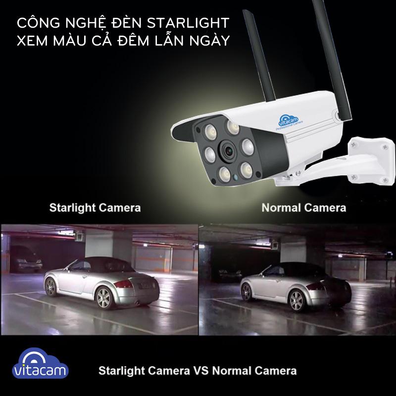CAMERA IP WIFI NGOÀI TRỜI VITACAM VB1088 - FULL HD 1080P - Ban đêm có màu - Hàng chính hãng