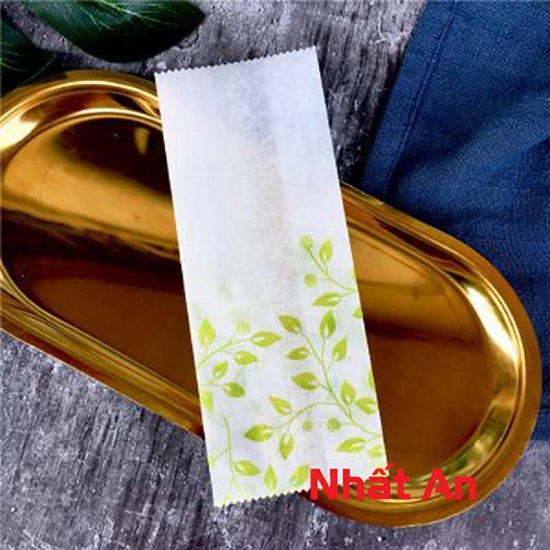 Túi bánh dứa thắt eo lá vàng 12.8x5x3cm - 100 cái