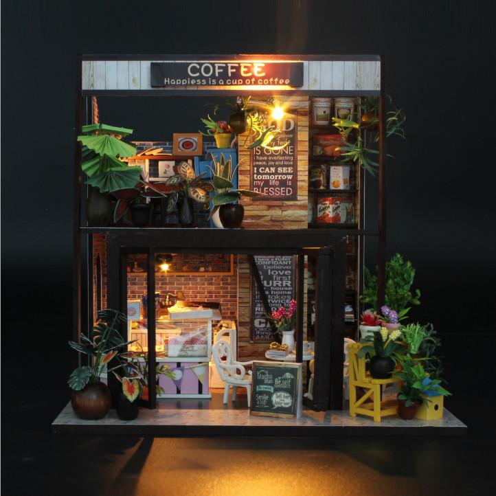 Mô hình nhà DIY Doll House Coffee House Kèm Đèn LED