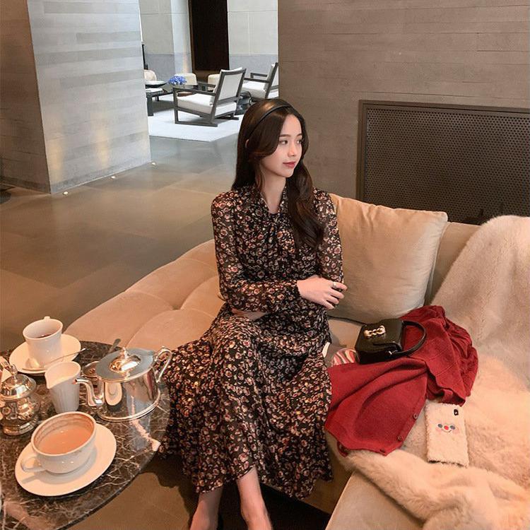 Đầm Maxi Voan Hoa Tay Dài Phối Nơ Trẻ Trung Phong Cách Retrol Hàn Quốc - MSP D10