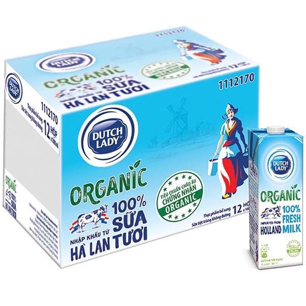 Thùng 12 Hộp Sữa Tươi Tiệt Trùng Dutch Lady Cô Gái Hà Lan Organic 12 X 1L