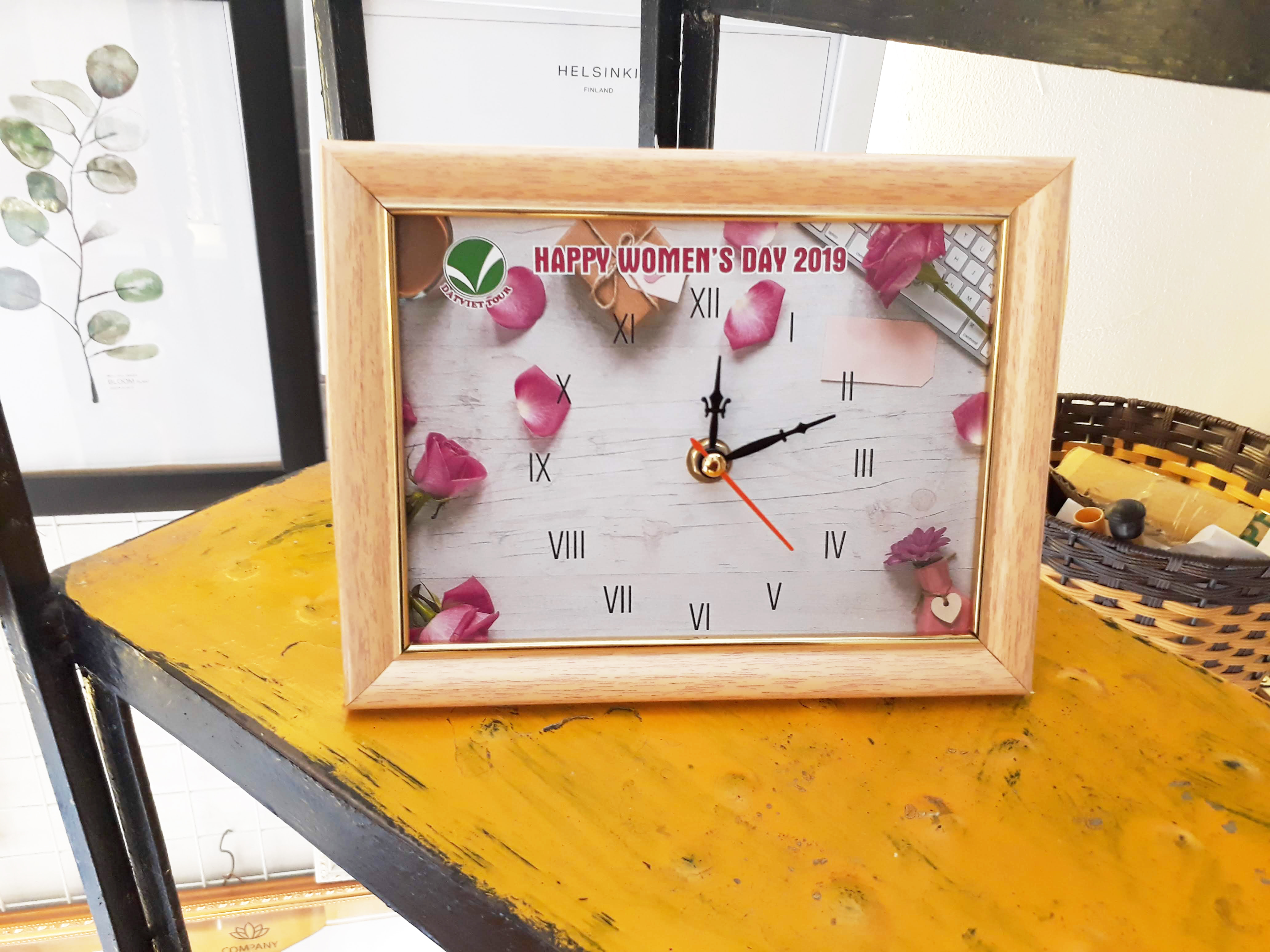 Tranh đồng hồ để bàn chữ Tâm   Đồng hồ  WC078