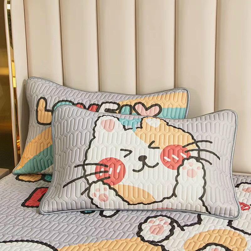 Chiếu Điều Hòa Cao Su Non Latex 5D Mèo Ghi