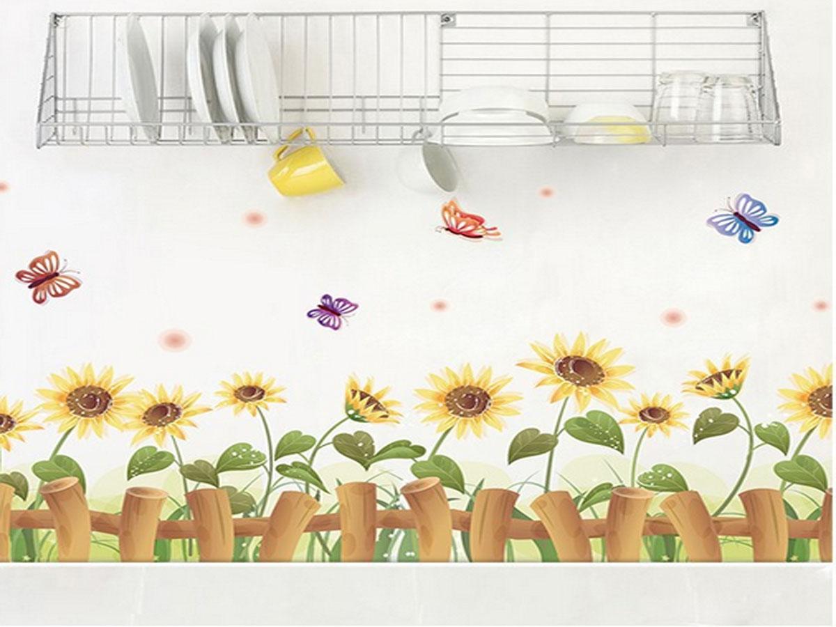 Decal dán tường chân rào hoa hướng dương xl7178