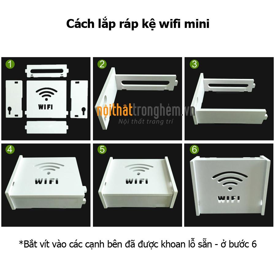 Kệ wifi mini Chữ Wifi treo tường không khoan tặng kèm móc treo cường lực