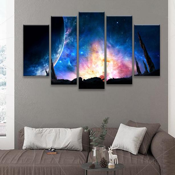 Bộ 5 Tranh Canvas Treo Tường Trang Trí Nhà Cửa Đẹp  - Chủ Đề Phong Cảnh Vũ Trụ (1 tranh 30x90cm + 2 tranh 30x80cm + 2 tranh 30x60cm)