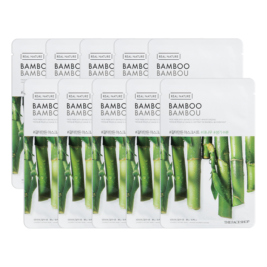 Bộ 10 Miếng Mặt Nạ The Face Shop Real Nature Bamboo Face Mask 20g