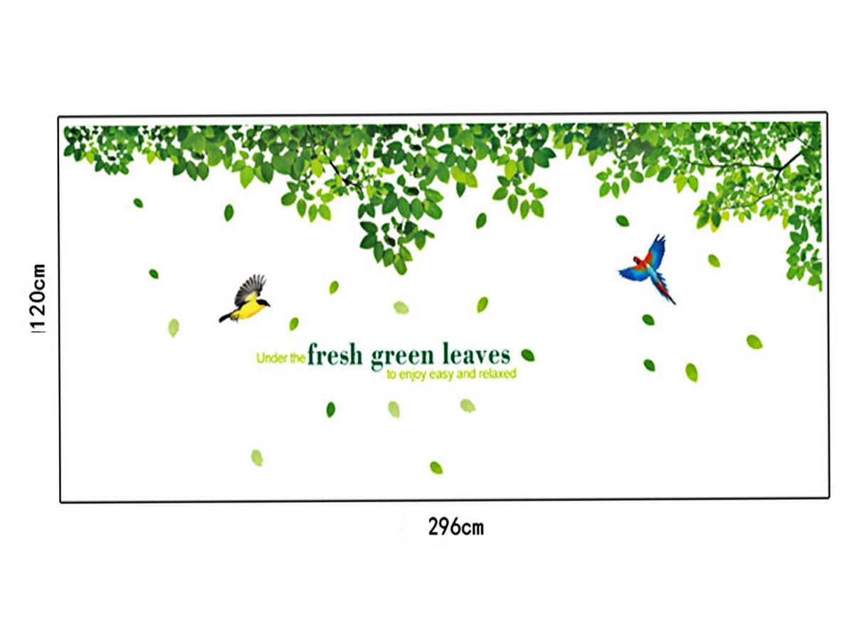 decal dán tường tán lá xanh 2 mảnh ay233