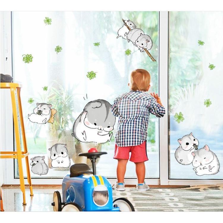 Decal dán tường hamster cute MJ7014 (90 x 110 cm)