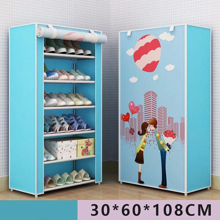 Tủ vải để giày dép họa tiết xanh 3D 6 tầng cao cấp