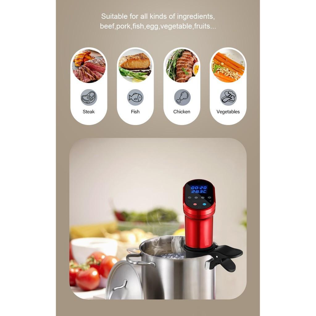 BioloMix Combo bộ bếp Sous vide SV-1900 màu đỏ và máy hút chân không W200