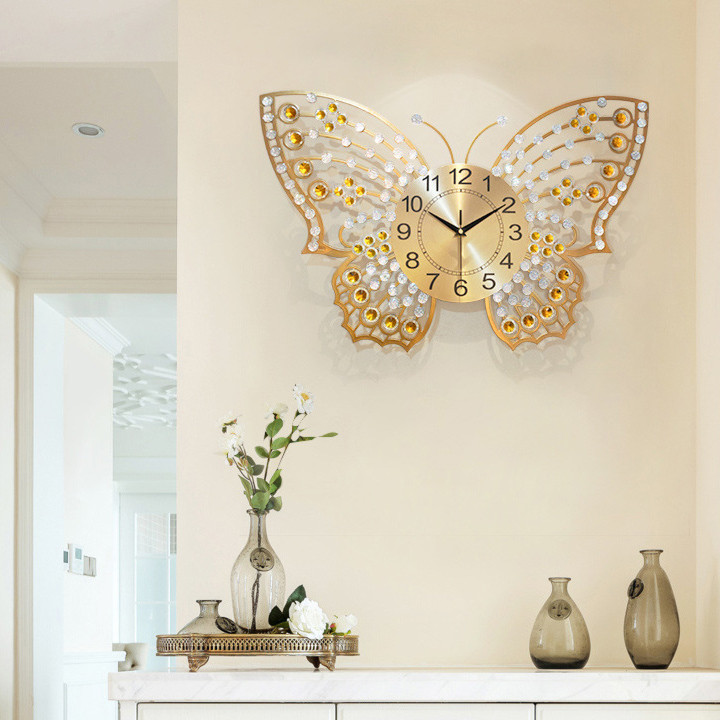 Đồng hồ treo tường - Đồng hồ treo tường hình cánh bướm - Đồng hồ trang trí - Đồng hồ treo tường pin AA - Đồng hồ treo tường - Đồng hồ treo tường sang trọng