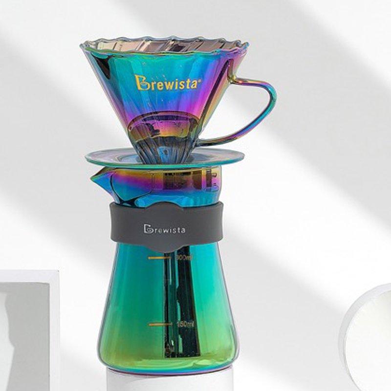 Bộ phễu V60 pha cà phê pour over thủy tinh Brewista Tornado Dripper & Server - Màu cực quang