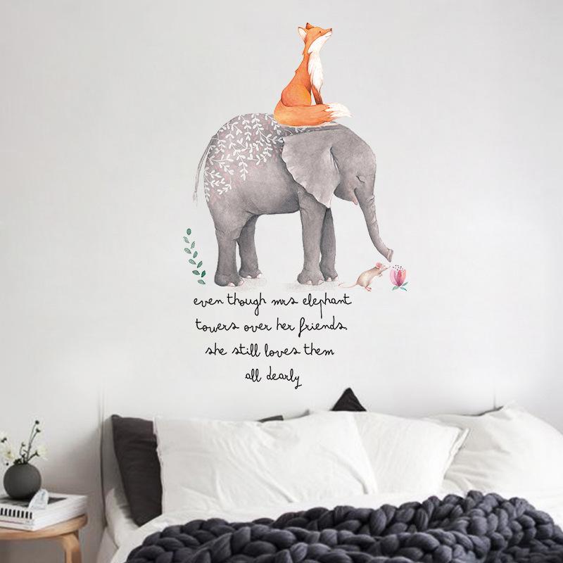 Decal dán tường elephant and fox XL7241