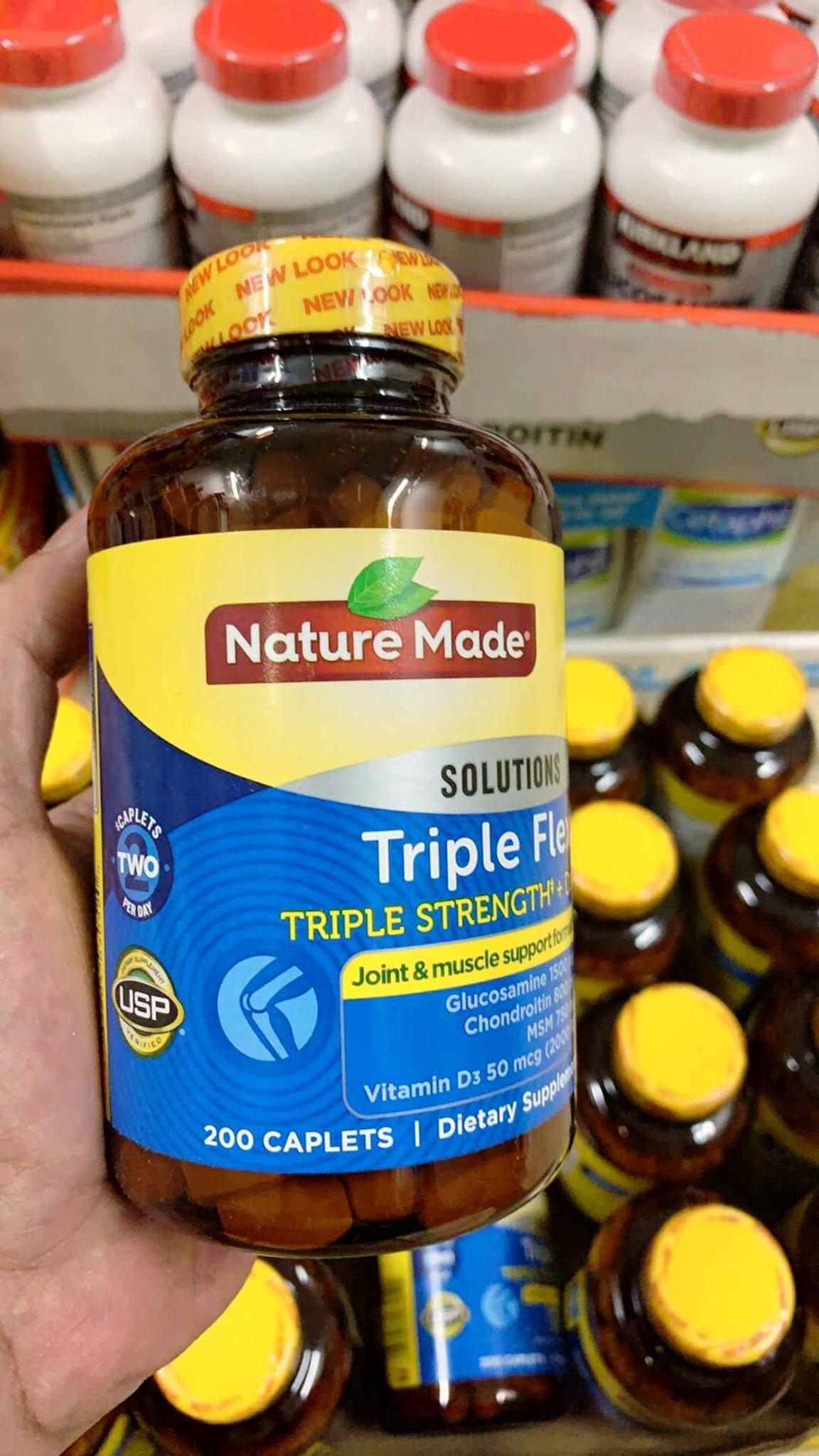 Viên uống hỗ trợ điều trị xương Triple Flex Triple Strength Nature Made Hộp 200 viên
