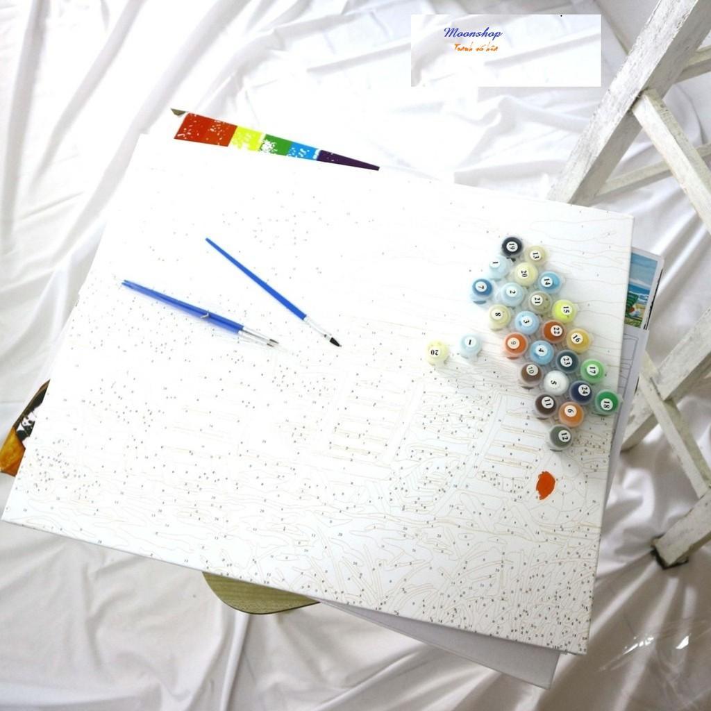 Tranh tô màu theo số, sơn dầu số hóa, tặng khăn, đã căng khung, đủ phụ kiện, có dầu bóng -Moonshop