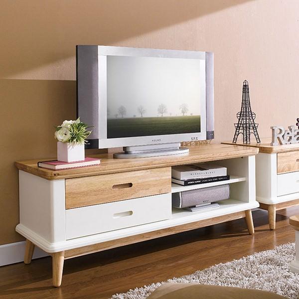 Tủ TV 2 Ngăn Kéo Vivid Gỗ Tự Nhiên Ibie LV2KVIVR - Trắng (120 x 40 cm)