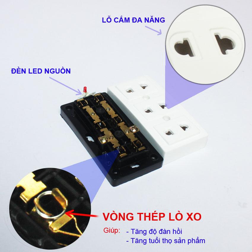 4 Ổ CẮM ĐIỆN 3 Lỗ OC7-698, CÔNG SUẤT 10A-250, Sản phẩm hàng Việt Nam chất lượng cao.
