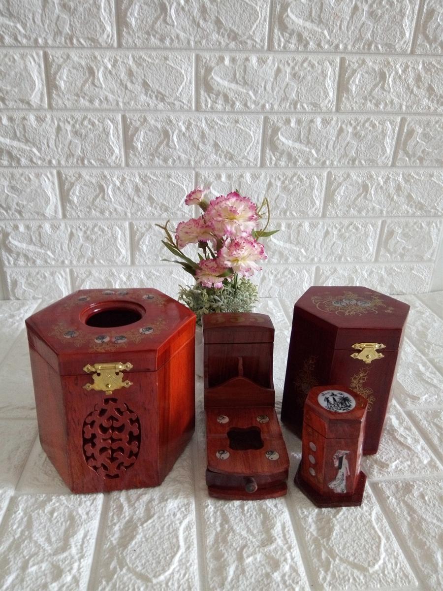 Bộ 4 món tiện ích gỗ hương Hộp Trà trung,gạt tàn,hộp tăm,hộp giấy lục lăng - CGLL04