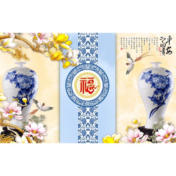 Decal Dán Tường - Tranh Bình Hoa - T3M--1289-copy