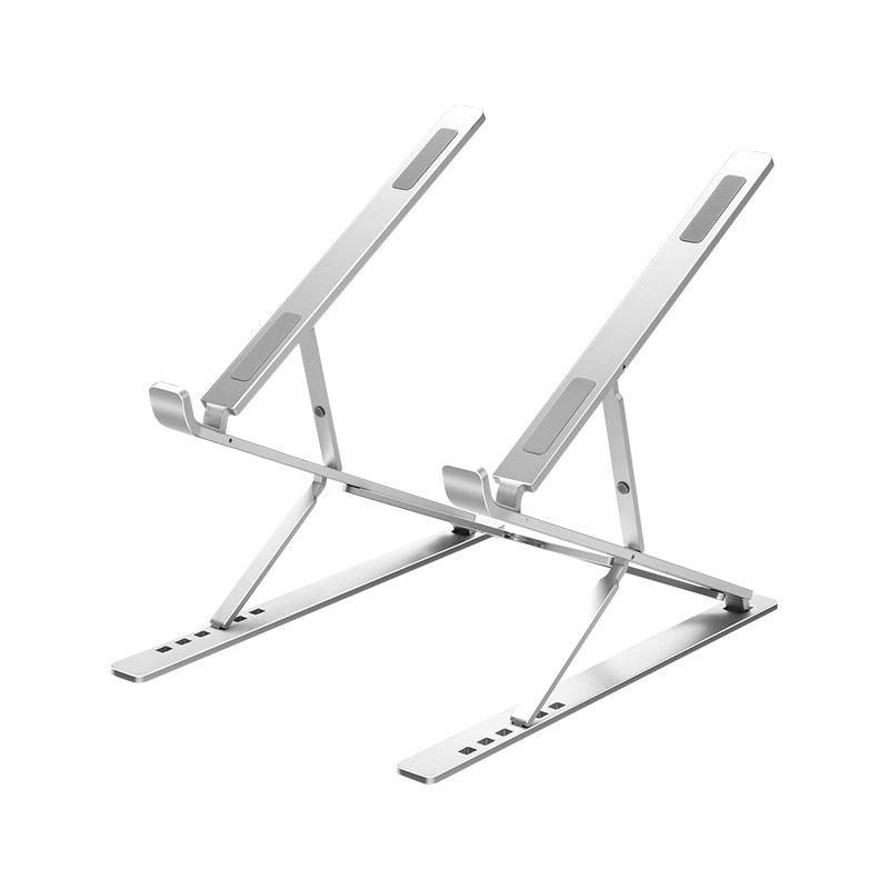 Giá đỡ laptop nhôm màu bạc thiết kế thông minh 2 tầng điều chỉnh độ cao, gấp gọn và tản nhiệt cho Laptop, Surface, Ipad, Macbook
