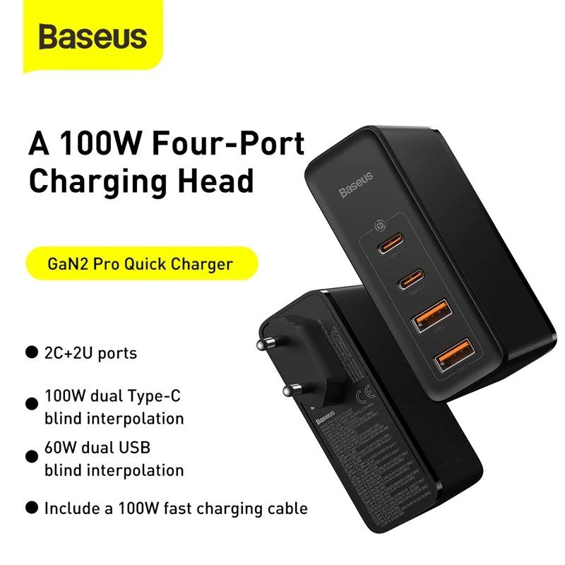 Bộ sạc nhanh Baseus GaN2 Pro Quick Charger 4 Ports (100W, Type C*2 & USB*2, PD/ QC3.0/ QC4+/ PPS/ SCP/ FCP/ AFC/ Apple 2.41/ BC1.2, Multi Quick charge protocol support) - Hàng Chính Hãng
