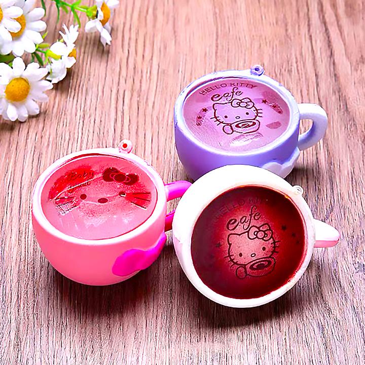 Squishy ly cafe mèo Kitty mini dạng móc khóa, squishy chậm tăng mùi thơm dịu nhẹ - Giao màu ngẫu nhiên