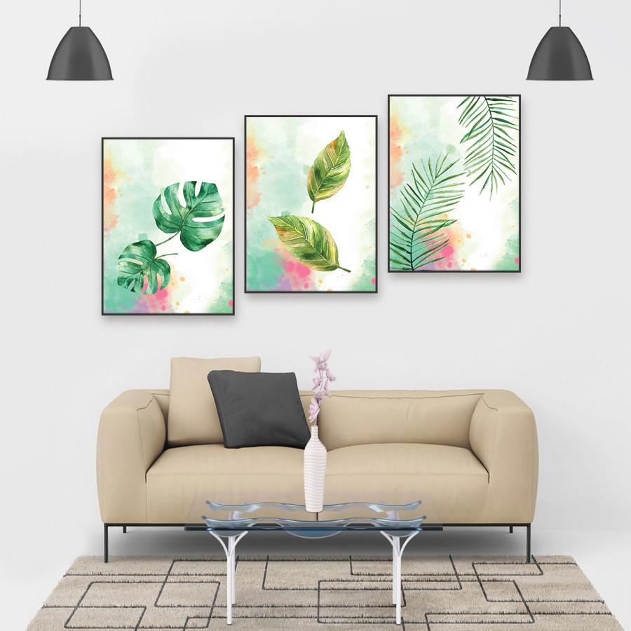 """Bộ 3 tranh treo phòng khách """"Lá có đôi"""" - W065 Tranh canvas"""