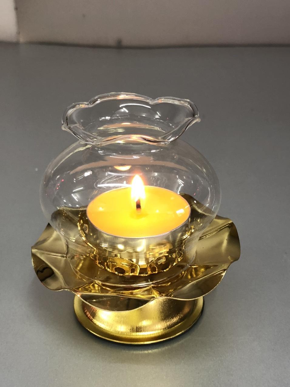Combo 2 chiếc Đế để nến thờ  hợp kim, có bóng đèn thuỷ tinh ( tặng kèm 1 hợp nế n bơ 100  viên  )