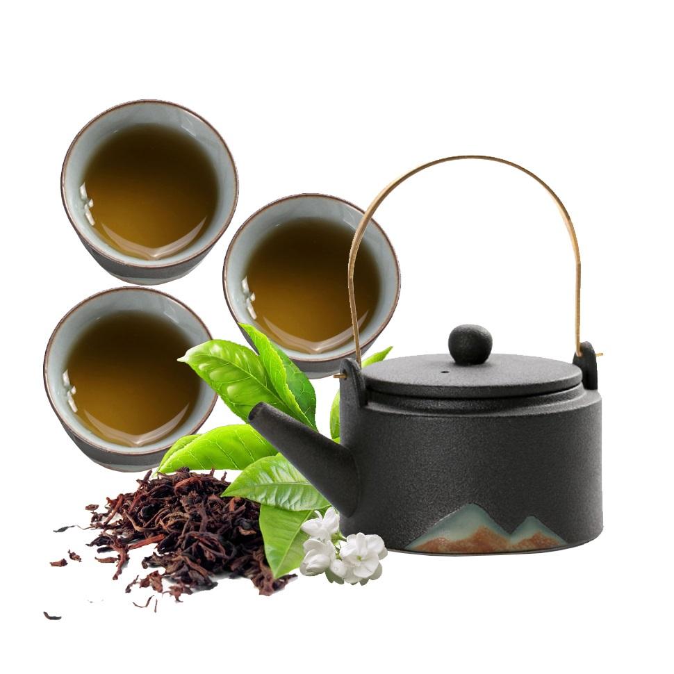 Bộ ấm trà bằng gốm sứ cao cấp -  Pha trà Đạo 12 món không kèm khay