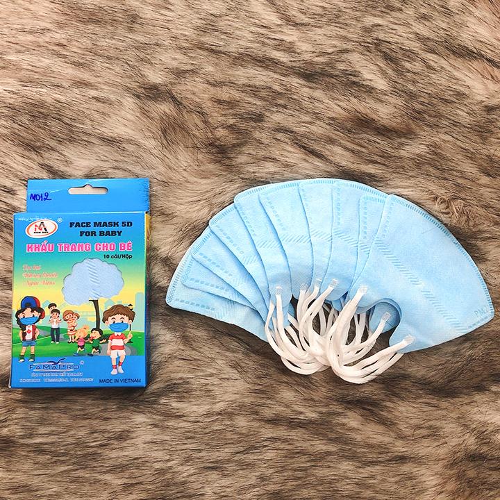 Hộp 10 khẩu trang trẻ em 5D cho bé 2-7 tuổi nhiều màu sắc đáng yêu bảo vệ hiệu quả đường hô hấp của bé BBShine – M012
